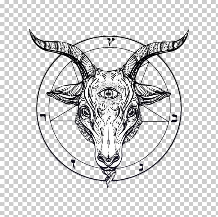 clip art transparent library Goat satanism png clipart. Baphomet drawing black and white