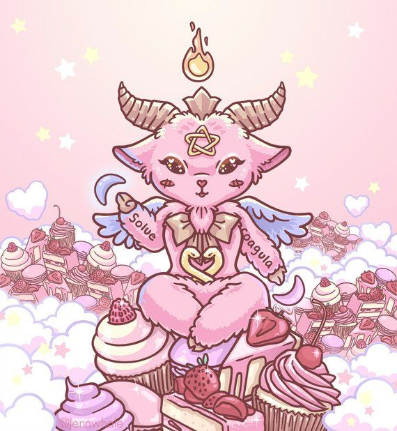 banner freeuse download Kawaii in pastel goth. Baphomet drawing cute