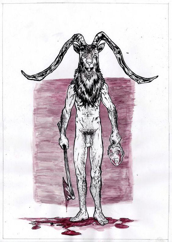 clipart library Pagan oldgods devil satan. Baphomet drawing masculine