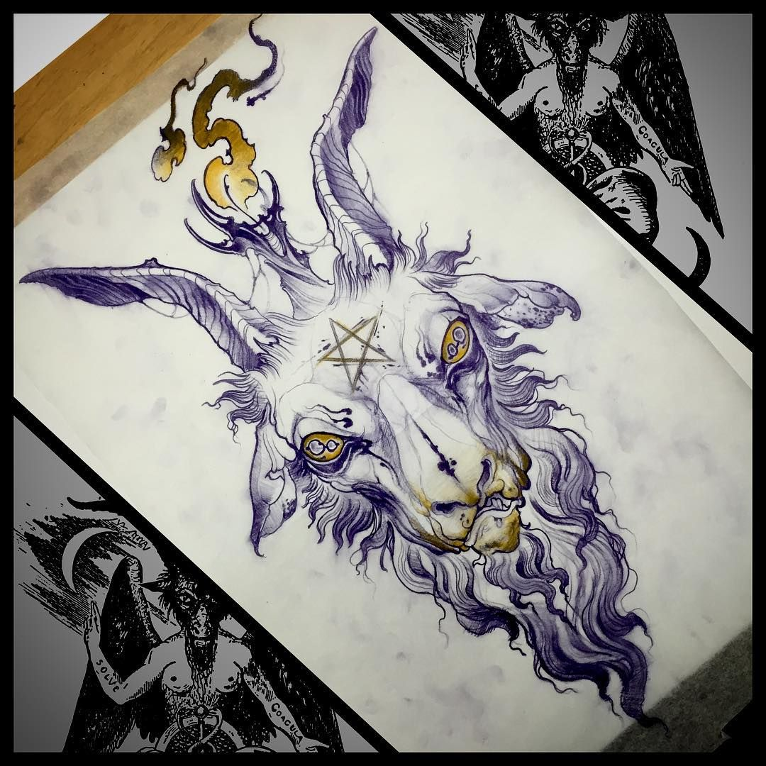svg library Baphomet drawing neo traditional. Art tattoo sketches people