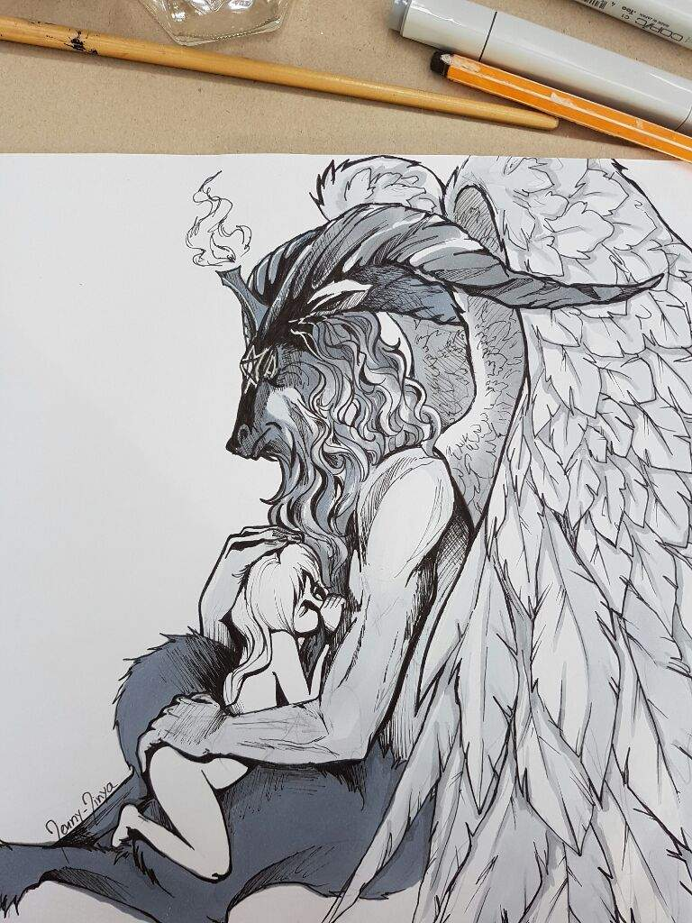 royalty free download Baphomet drawing pen. Finished art amino