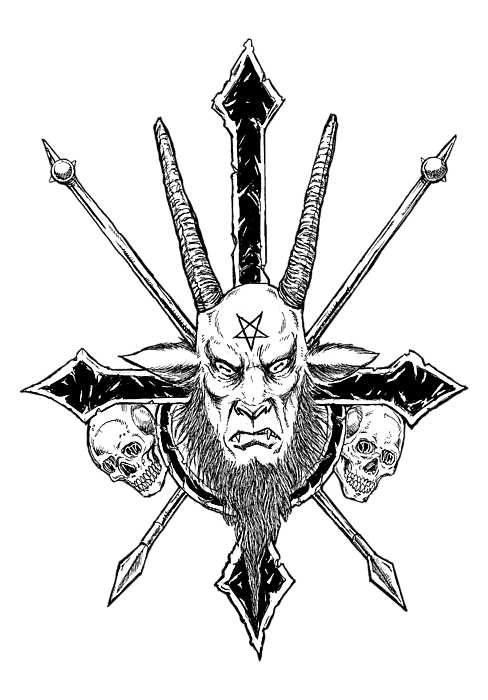 clip black and white download Baphomet Inverted Cross Spiral Notebook for Sale by Alaric Barca