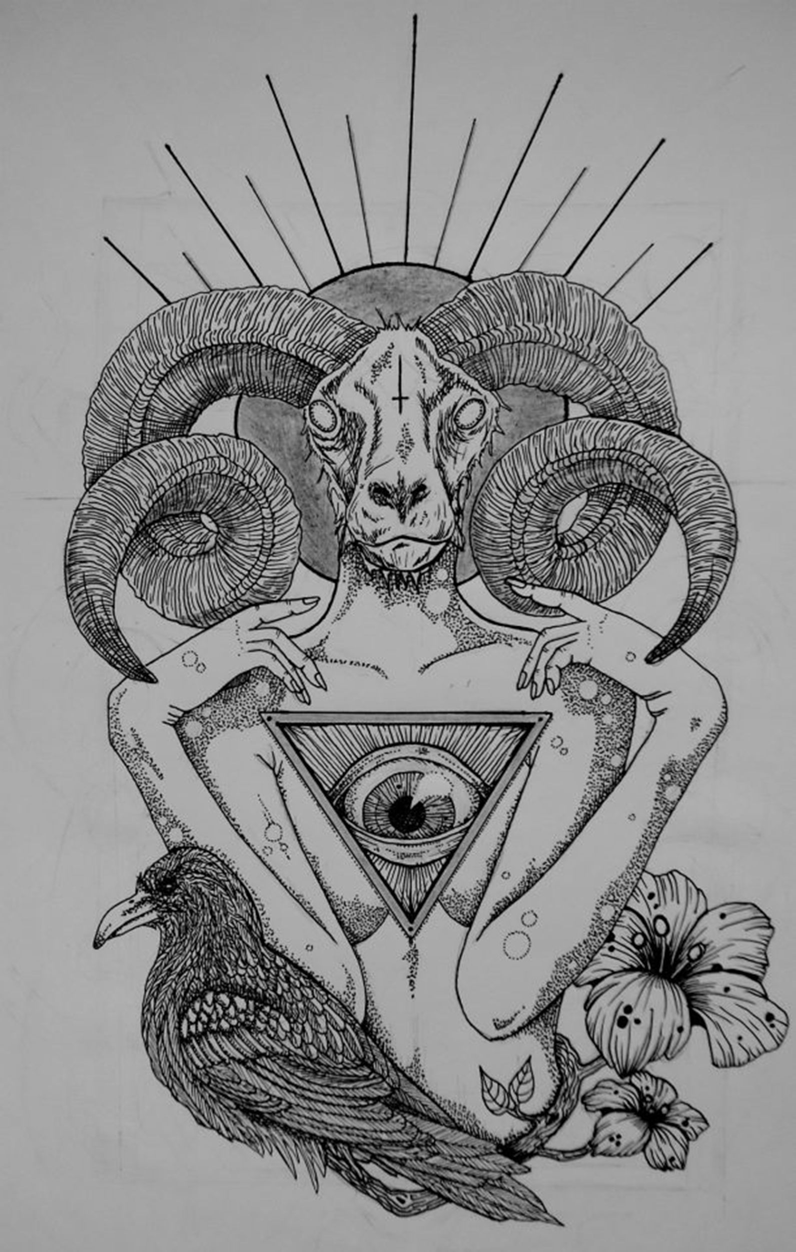 image freeuse stock Raven a little morbid. Baphomet drawing realistic