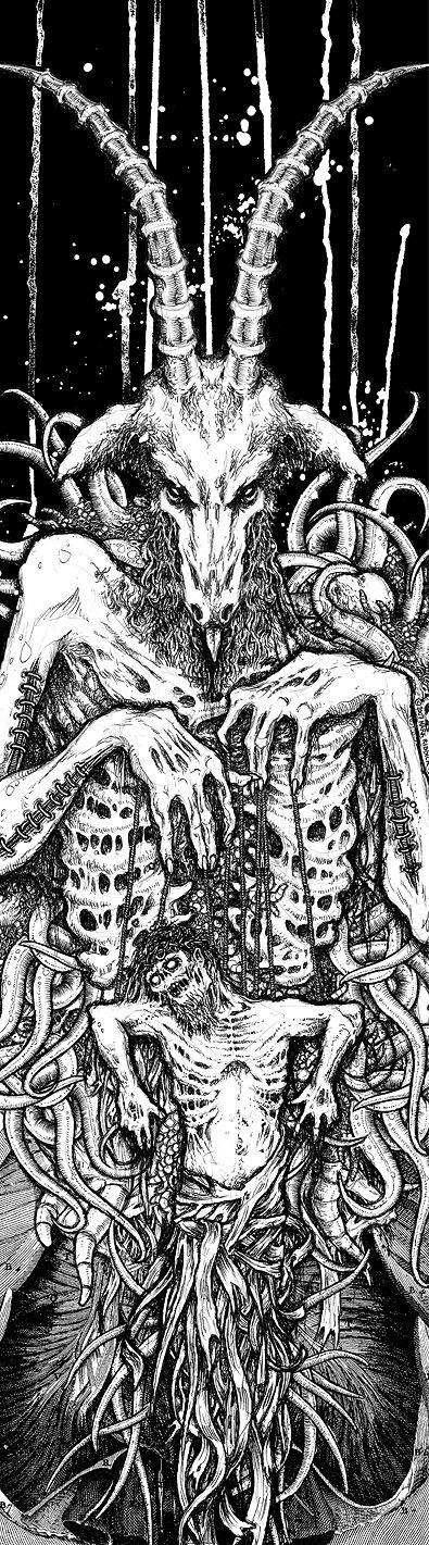 image black and white stock Baphomet drawing ritual. Dark art satanic macabre