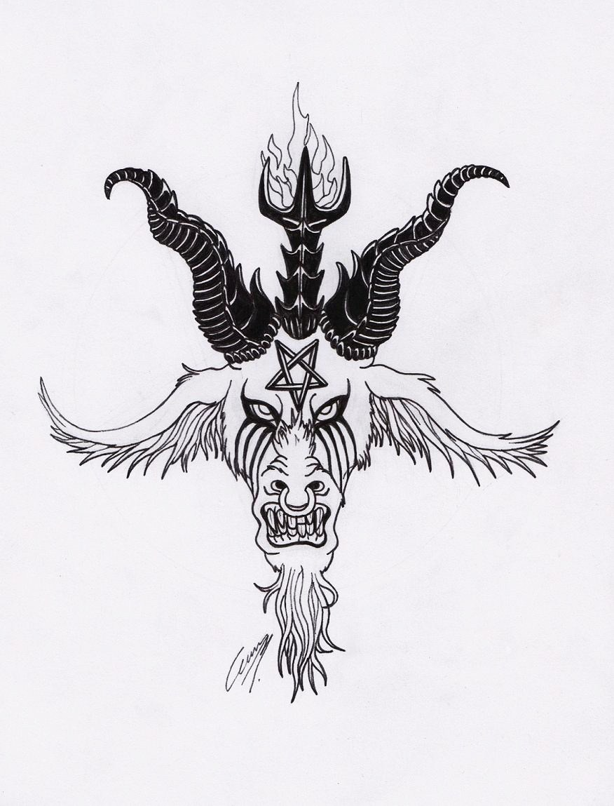 clip art black and white stock Rage by satanen on. Baphomet drawing traditional