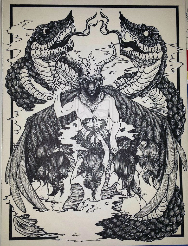svg free Baphomet drawing traditional. Fantasy drawings by