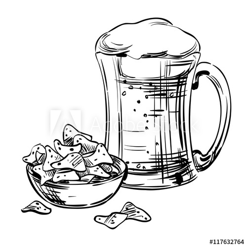 banner black and white download Beer in a glass. Snack drawing bar
