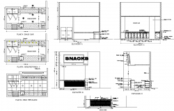 vector black and white library Snacks plan and elevation. Snack drawing bar