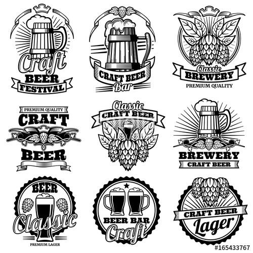 jpg royalty free Bar vector. Vintage beer drink labels.