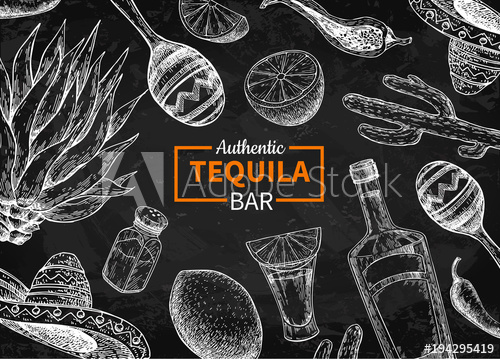 graphic freeuse library Bar vector alcohol. Tequila blackboard label mexican