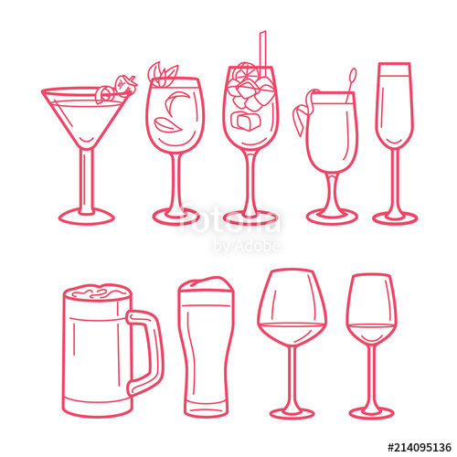 clipart freeuse download Bar vector alcohol. Drinks menu line art