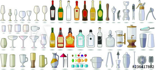 vector black and white library Set of objects equipment. Bar vector alcohol