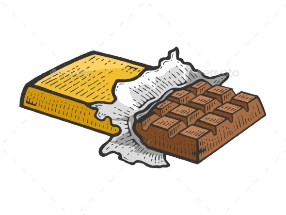 graphic free stock Bar vector illustration. Chocolate sketch engraving