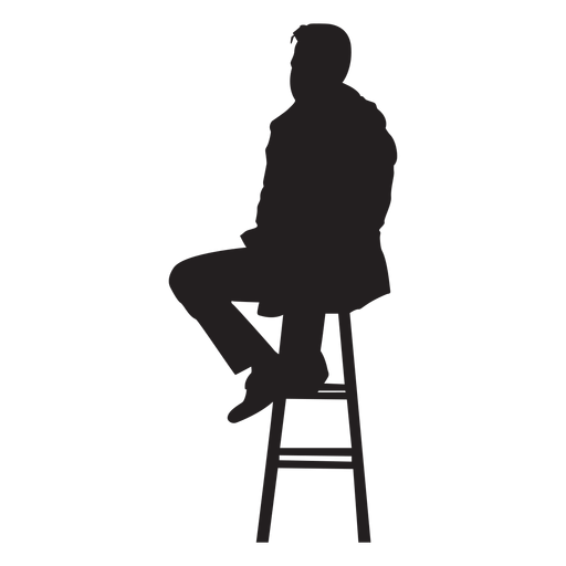 graphic transparent download Man sitting on stool. Bar vector silhouette