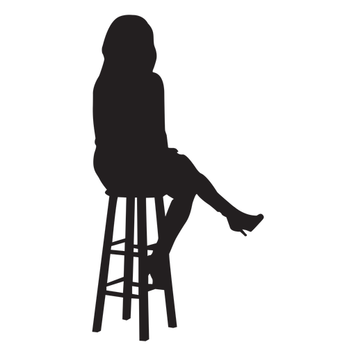 banner library Bar vector silhouette. Woman sitting on stool