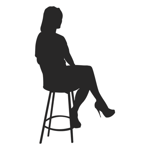 jpg freeuse download Bar vector silhouette. Girl sitting on stool