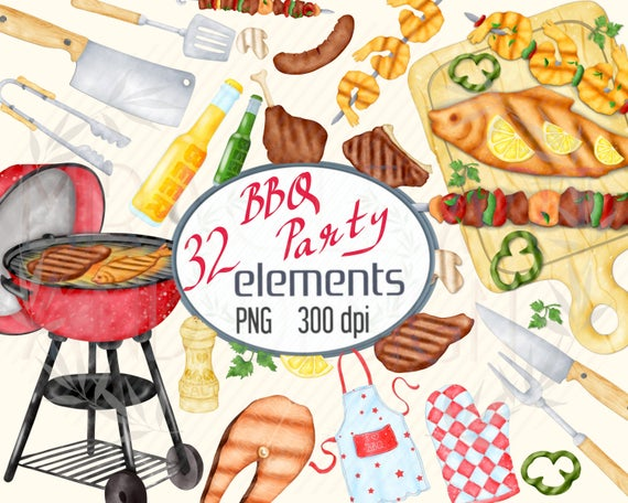 vector free download Watercolor grill party kitchen. Barbecue clipart bbq lunch.