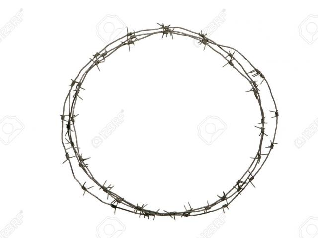 vector black and white Barbed wire clipart wreath. Free barb download clip.