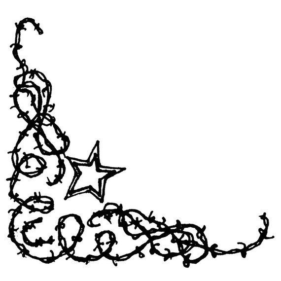 vector black and white stock Barbed wire western clipart. Clip art library