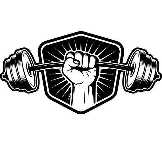 black and white library Bodybuilding logo shield bar. Barbell clipart gym weight.