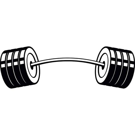 svg black and white stock Barbell curved weightlifting bodybuilding. Bar vector weight