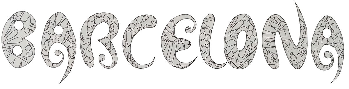vector library stock Barcelona drawing. City characteristic font on.