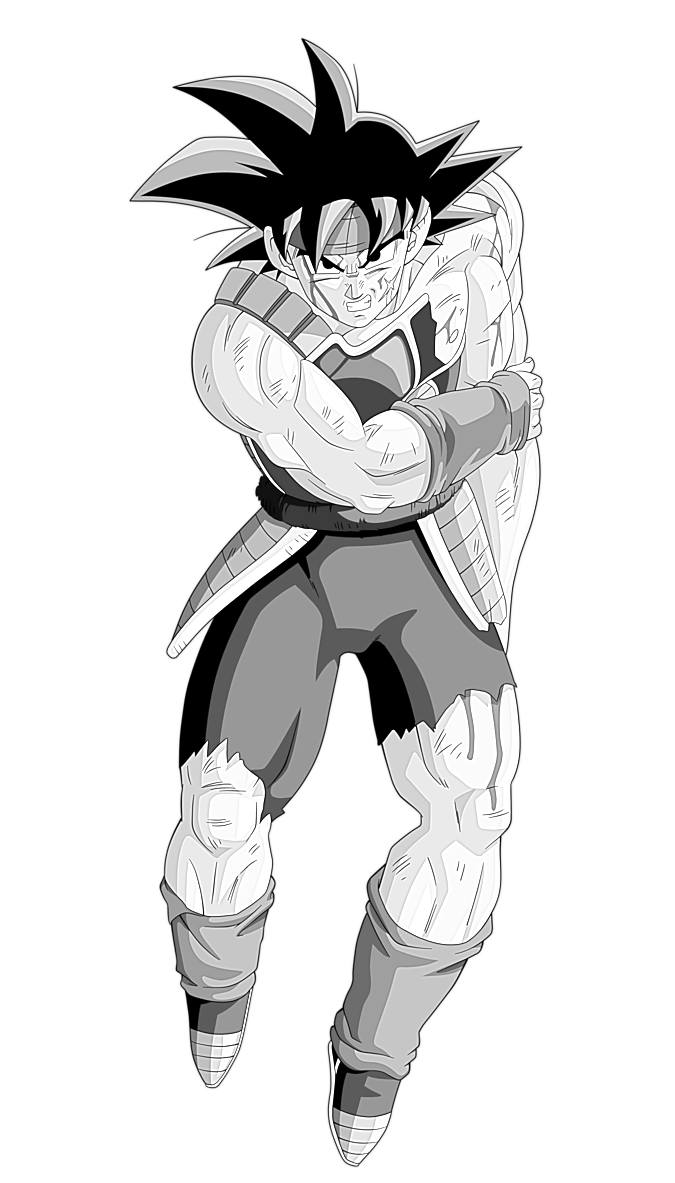 svg black and white stock Bardock sketch