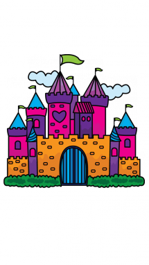 image black and white How to Draw a Princess Castle for Kids Step