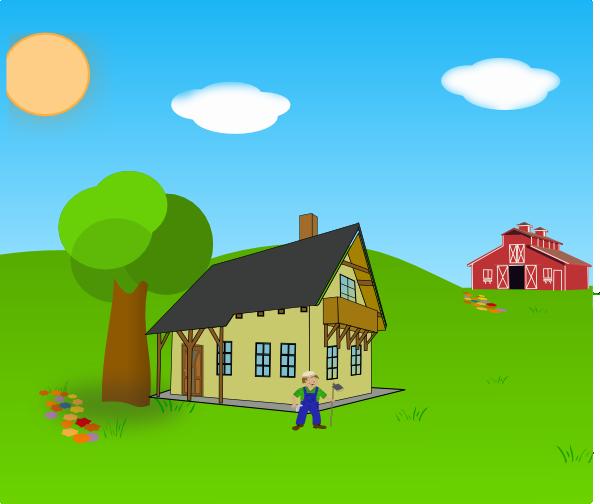 jpg black and white Farm background clip art. Barn clipart scenery.