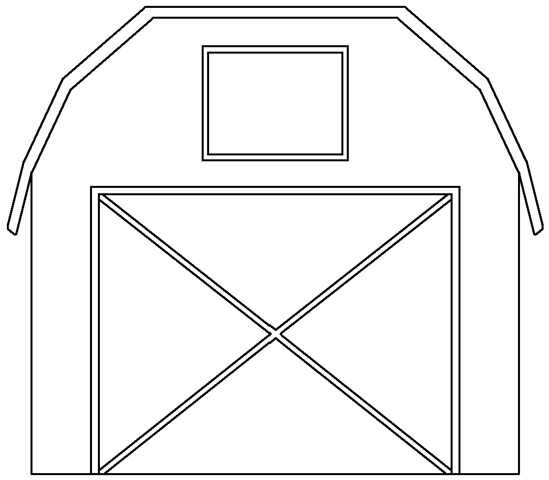 clip free library Outline black and white. Barn clipart shape.