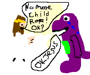 image black and white download Jesus warns Barney the Dinosaur to not rape kids drawing by Wassall