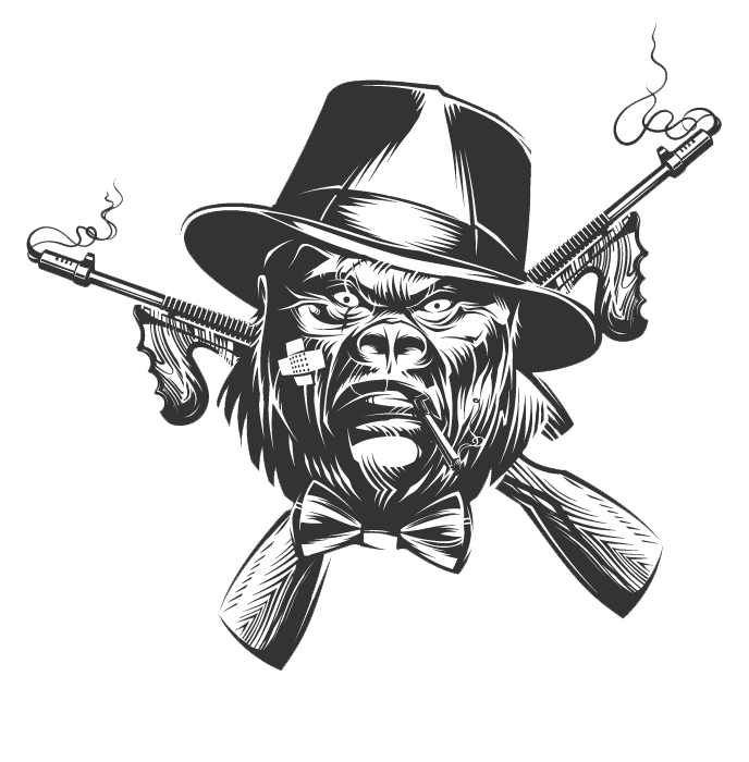 graphic black and white library Gorilla Drawing Gangster