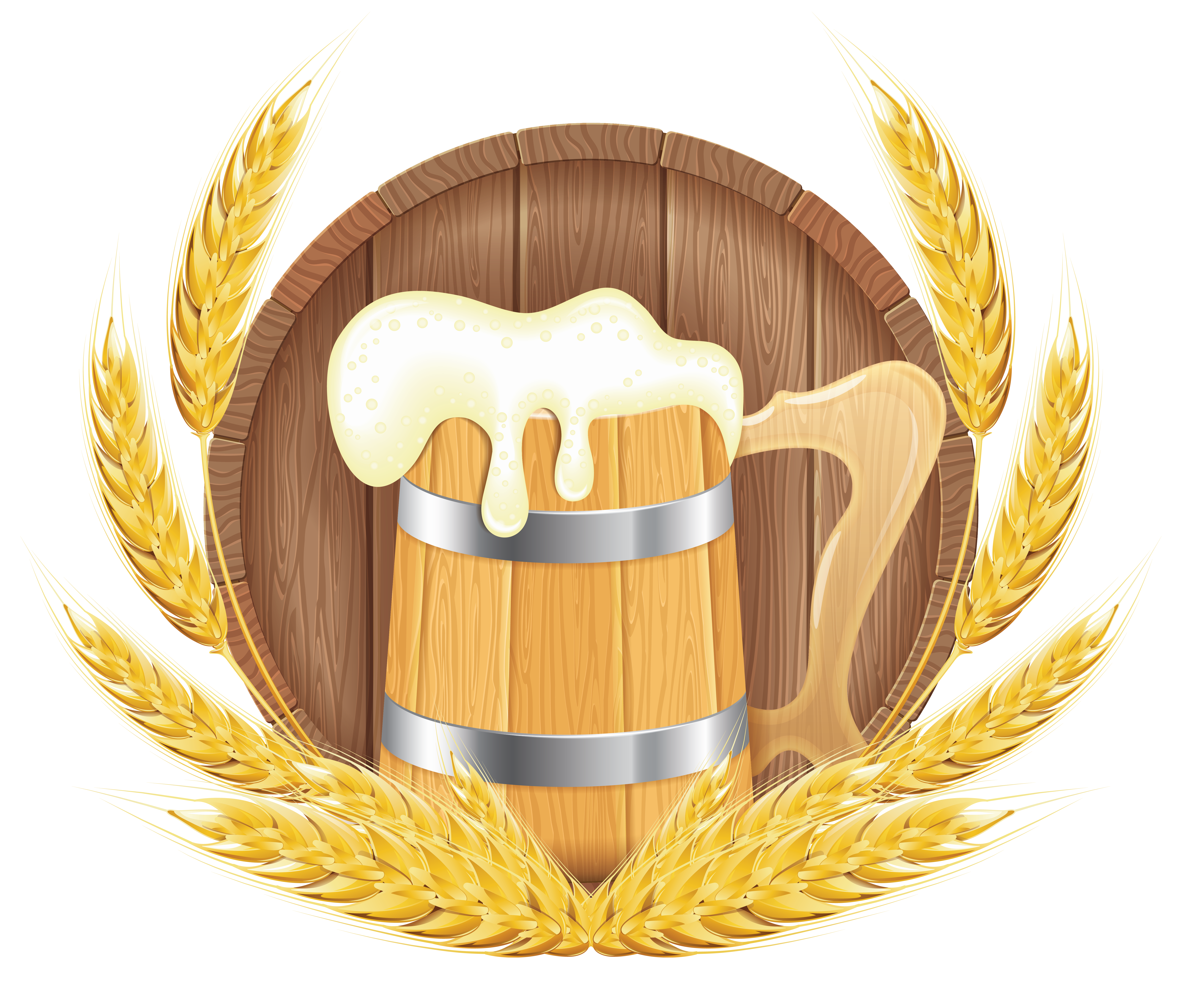 jpg black and white stock Barrel mug and wheat. Oktoberfest beer clipart.
