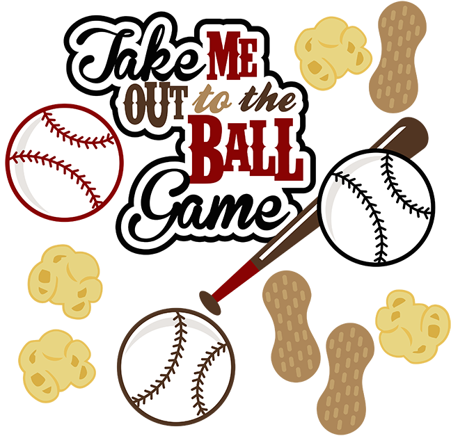 vector black and white Take Me Out To The Ball Game Clipart