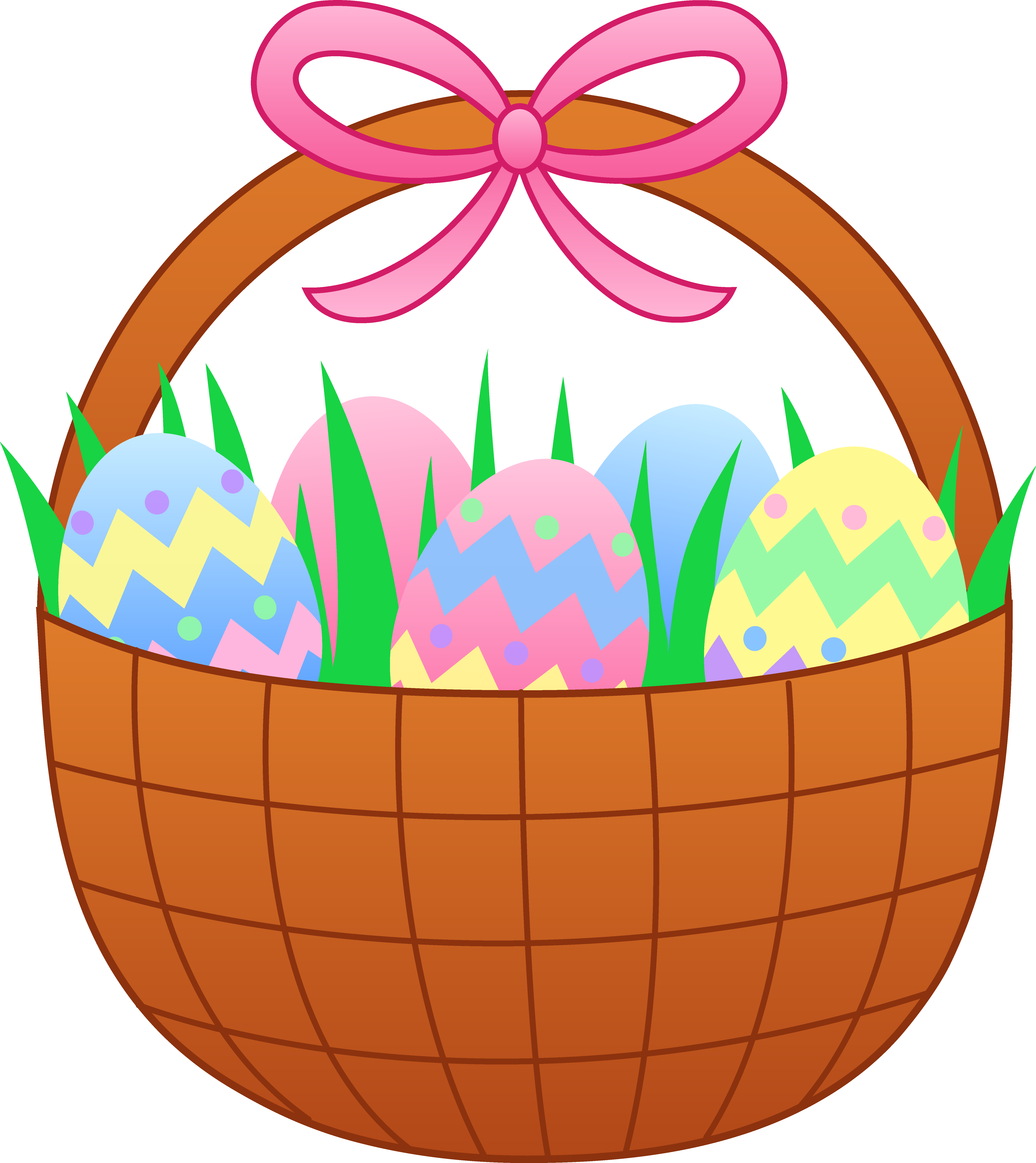 clip art black and white stock Basket clipart bow. Easter with colorful eggs.