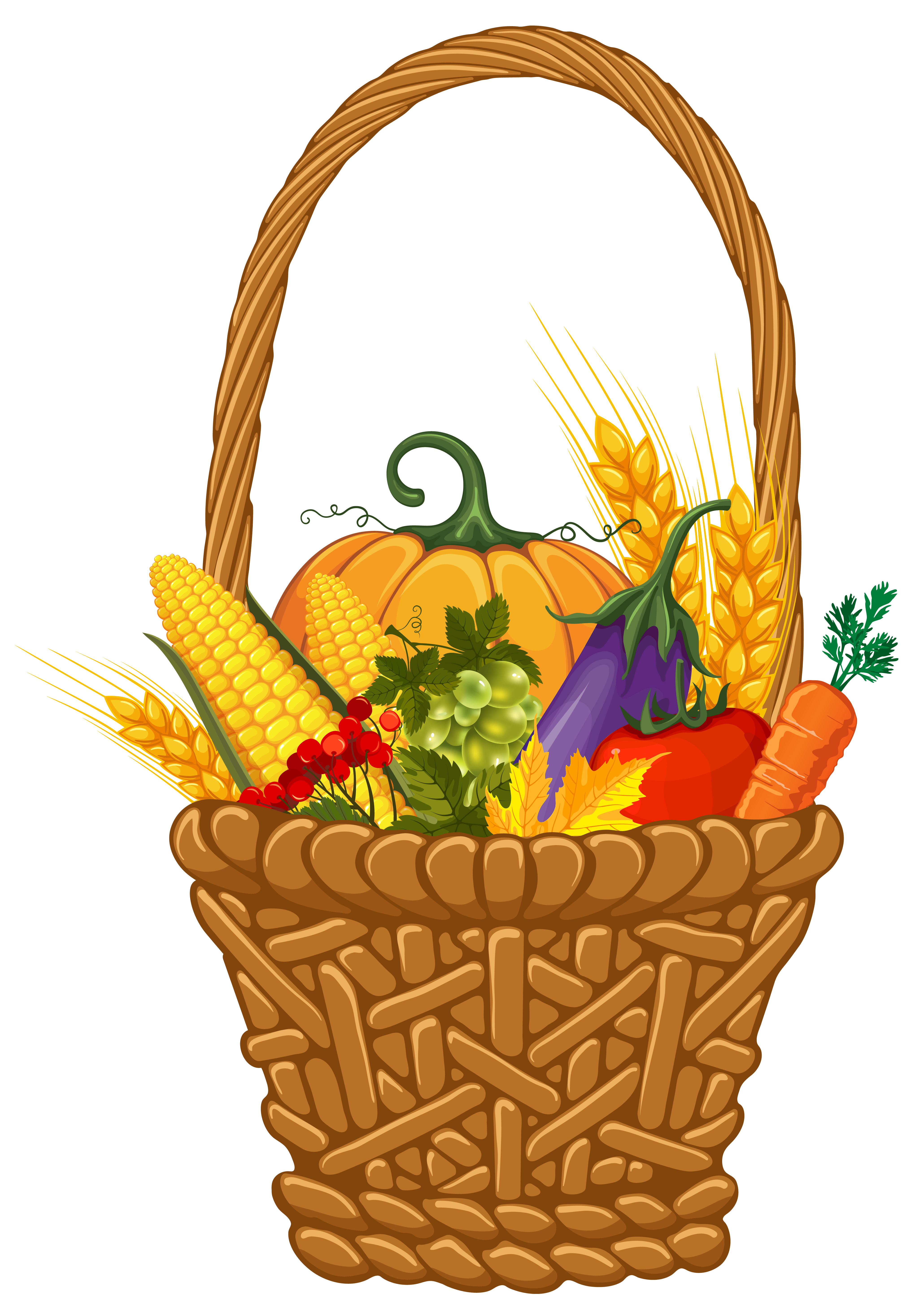 stock Basket clipart bow. Fall harvest png image.