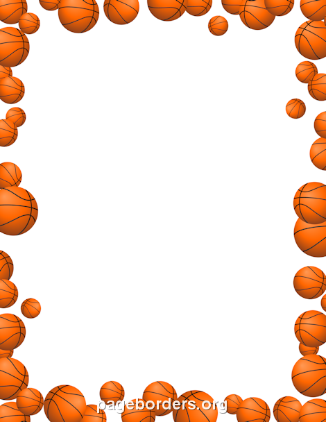 black and white Pin by muse printables. Basketball border clipart