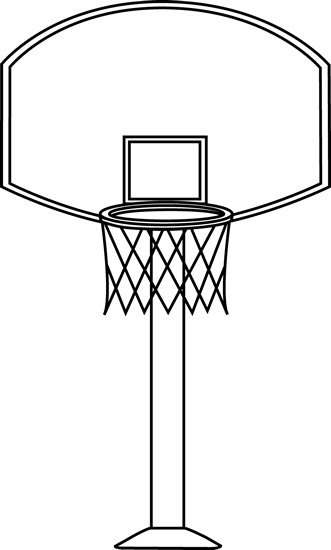 clip royalty free download Black and White Basketball Goal Clip Art