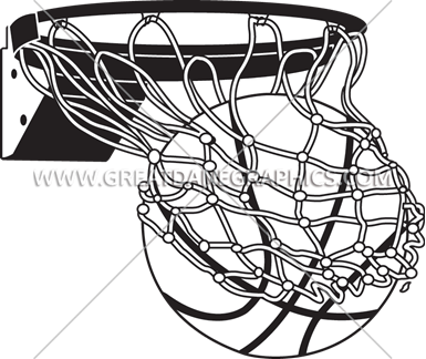 black and white Flaming Basketball With Net