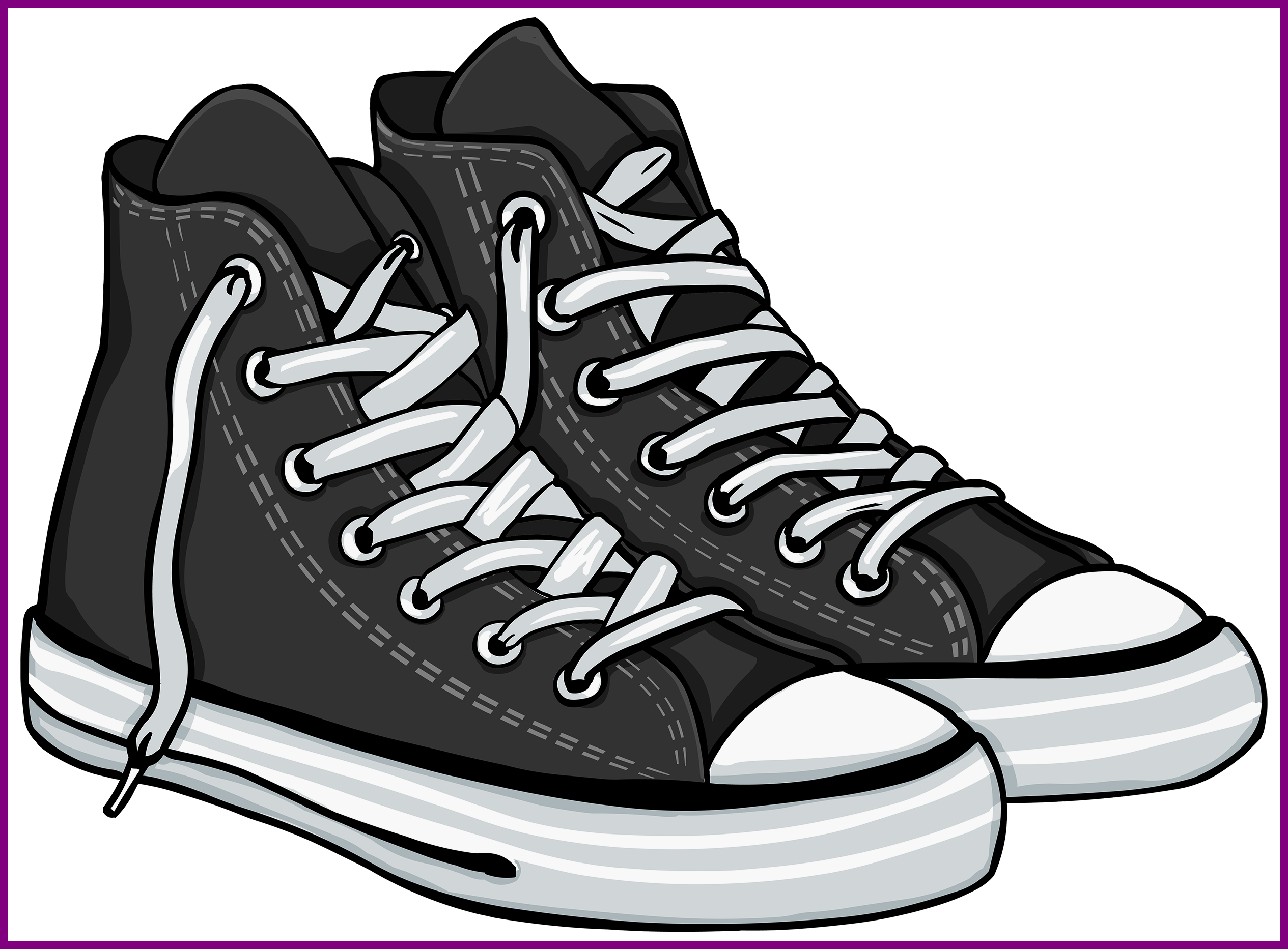 clip art freeuse Basketball shoes black and white clipart