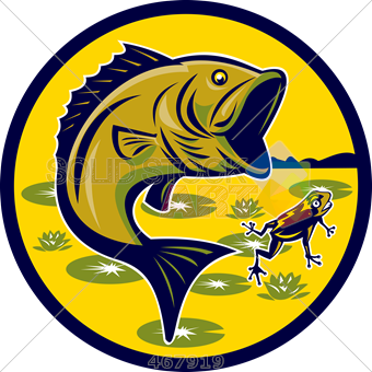 image free Stock illustration of old. Bass clipart jumping