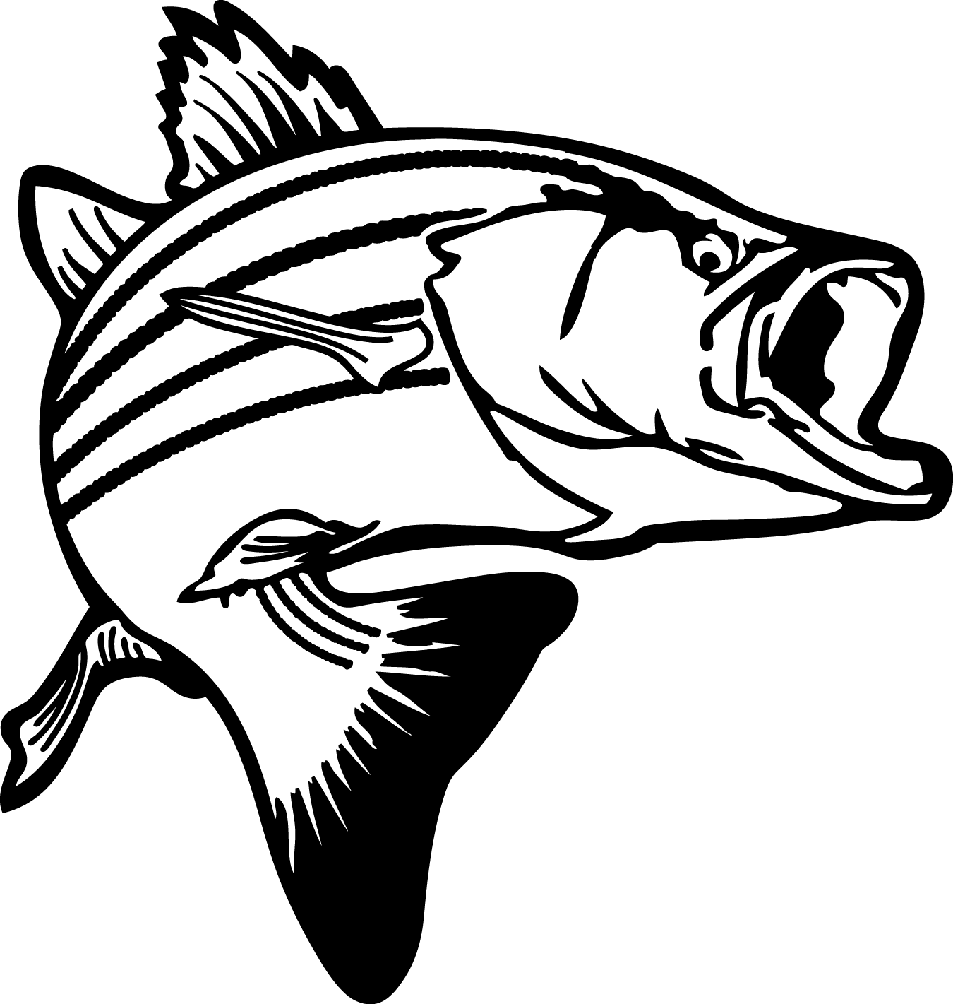 png Jumping Bass Fish Clip Art