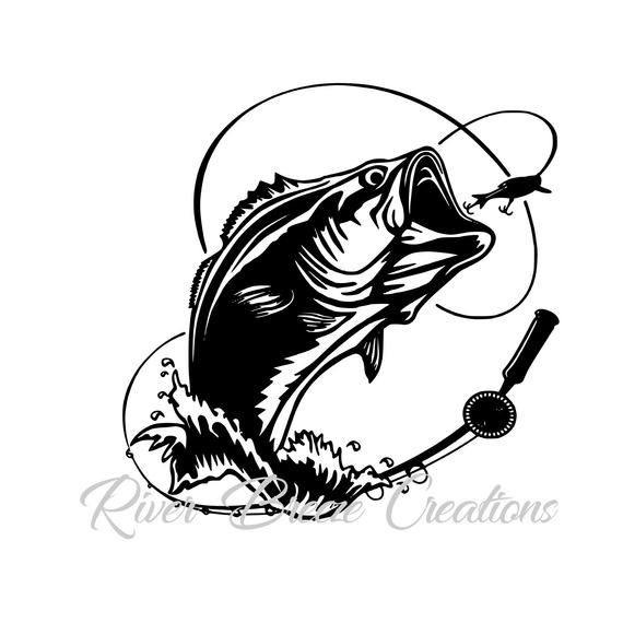 picture royalty free library Bass svg clip art. Fish silhouette cricut large
