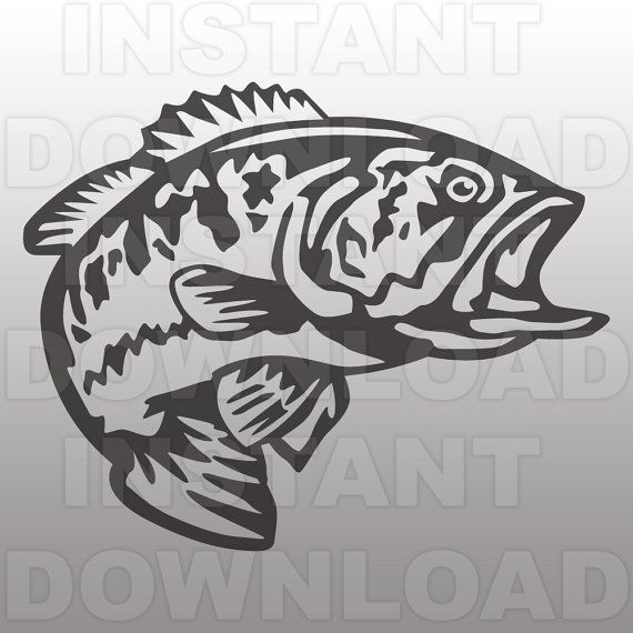 jpg black and white stock Pin on craft ideas. Bass svg clip art