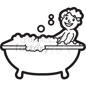 vector library download Bath clipart. Boy taking a black