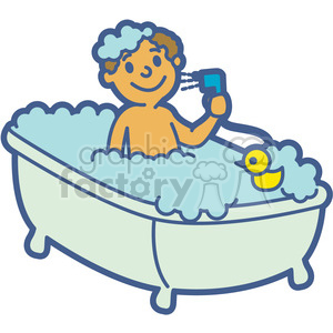 svg library download Bath clipart. Boy taking a cartoon