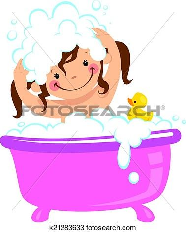black and white library Kid girl in bath. Bathing clipart baby wash.