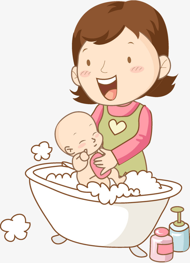 clipart black and white library Bathing clipart baby wash. Bath mother transparent free.