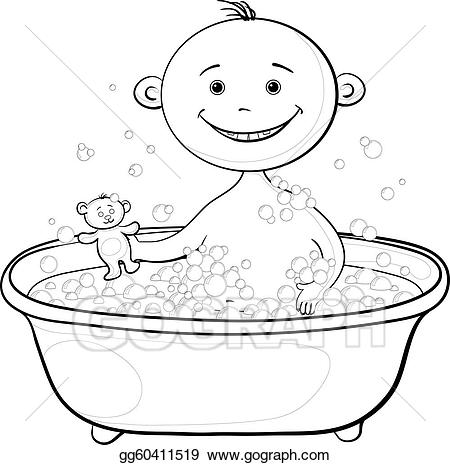 svg royalty free download Vector illustration in the. Bathing clipart baby wash.