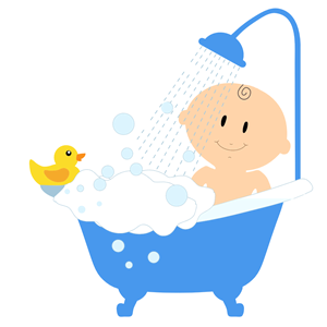 clip art black and white download Bathing clipart baby wash. Boy bath cliparts of.